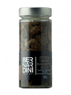Sliced bianchetto truffle in oil